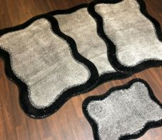ROMANY GYPSY WASHABLES NEW SET OF 4 MATS X LARGE SIZE 100X140CM BLACK-SILVER